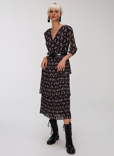 People By Fabrika Piliseli Kruvaze Elbise Siyah